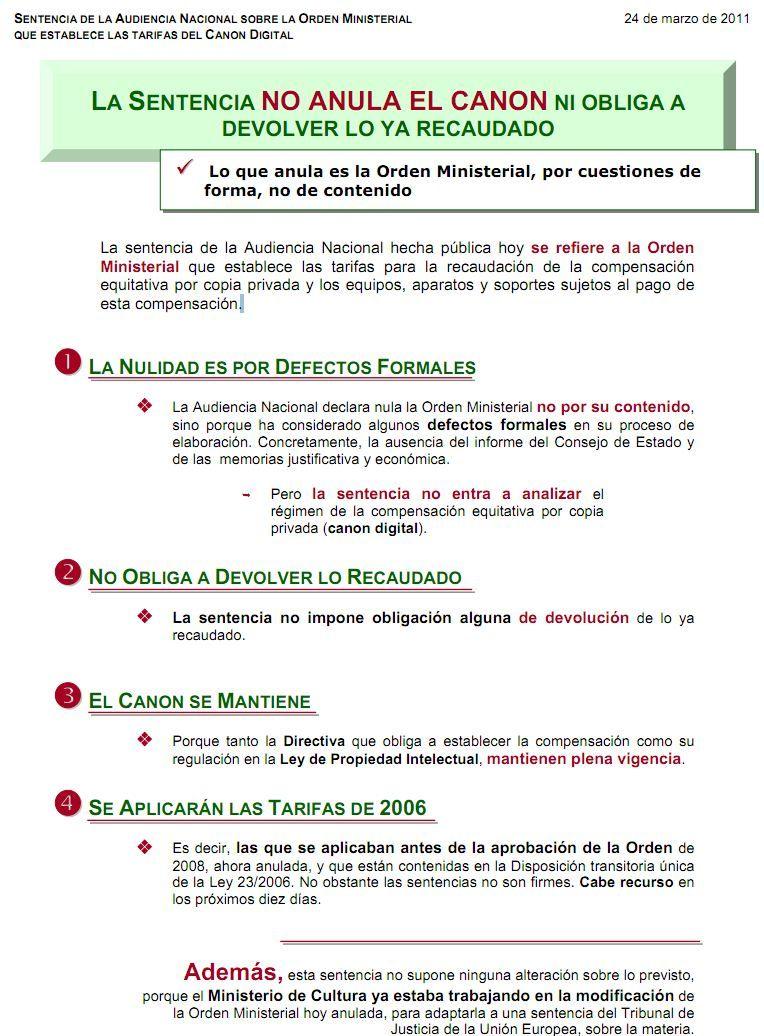 Canon digital psoe El Gobierno dice que la sentencia NO anula el canon digital