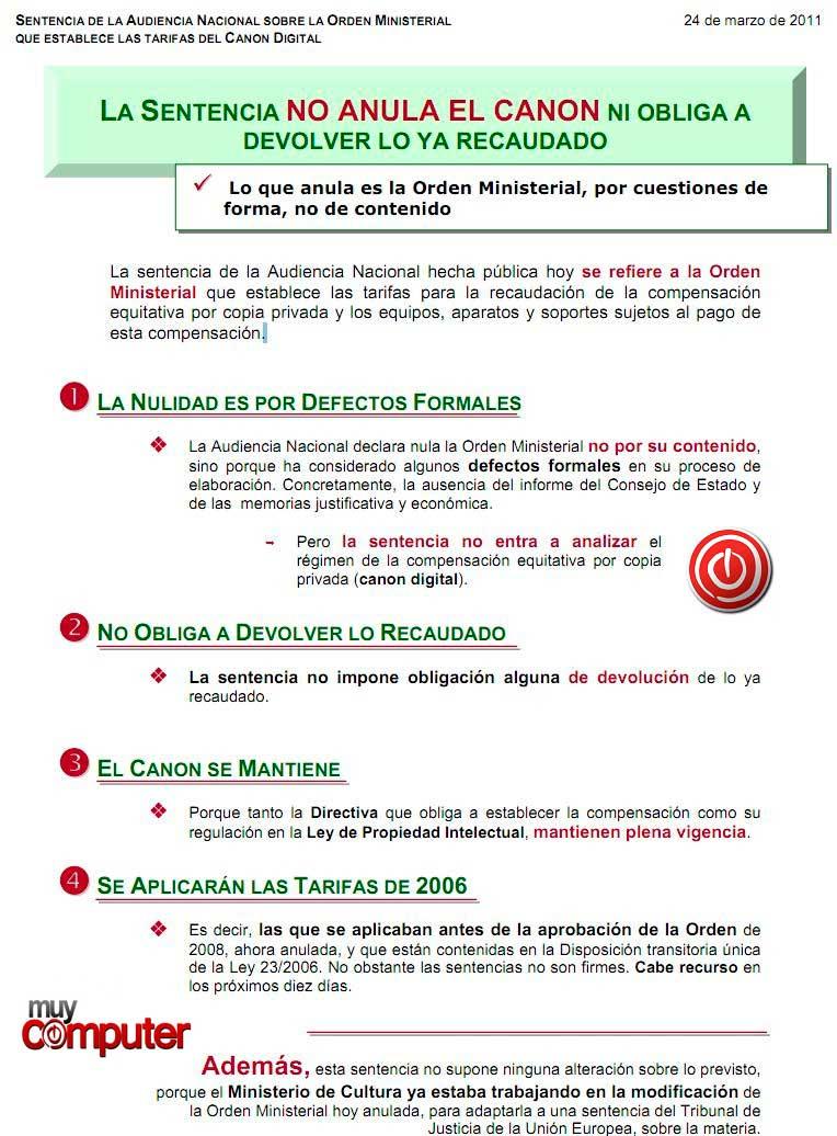 canon sgae El Gobierno dice que la sentencia NO anula el canon digital