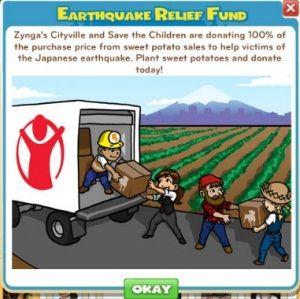 Usuarios Zynga ofrecen 1 millón de dólares para las víctimas del terremoto Japón