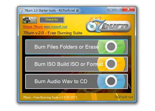 7Burn, aplicación de grabación portable y gratuita