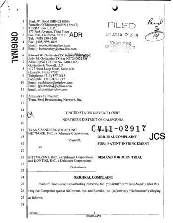 BitTorrent demandado, ahora por violación de patentes 30