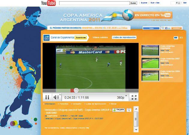 Disfruta de la Copa América a través de YouTube