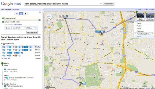 Google Transit: Información de transporte público en tiempo real en Madrid