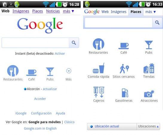 Google renueva su portal móvil, ahora con búsqueda de lugares