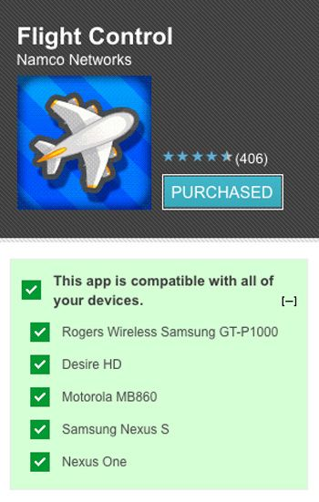 Android Market ya chequea la compatibilidad de aplicaciones con tus terminales