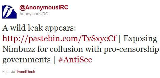 Anonymous publica el código fuente de Nimbuzz 29