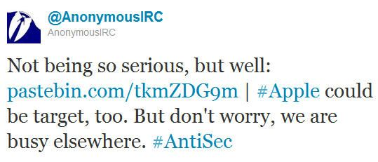 Anonymous ataca servidores Apple bajo la operación Antisec 29