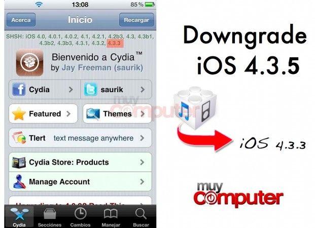 Downgrade iOS 4.3.5 a iOS 4.3.3 para disfrutar de jailbreak untethered