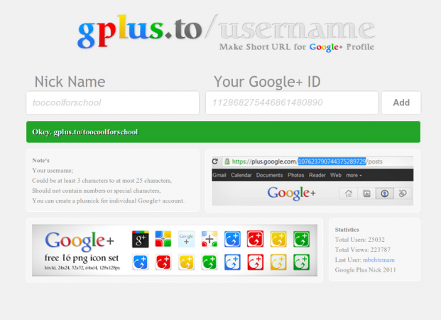Acortador de URLs para Google+: gplus.to/nombre