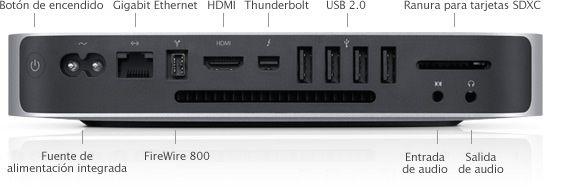 Conexiones traseras Mac mini (2011)