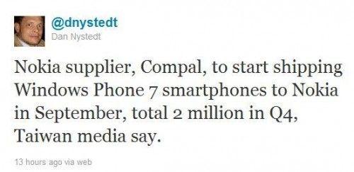 Nokia dispondrá de 2 millones de terminales con Windows Phone 7 el próximo mes
