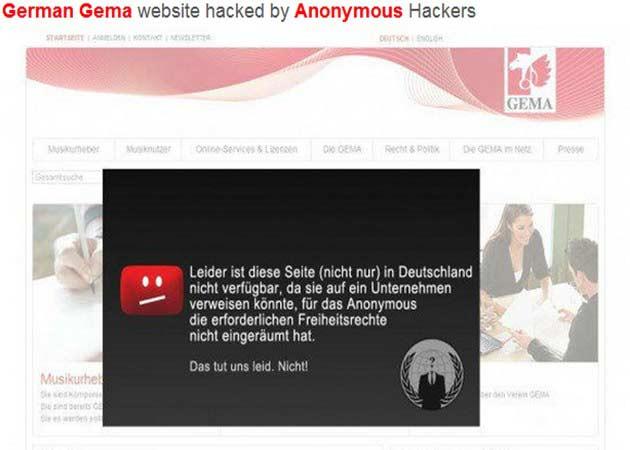 Anonymous bloquea cuatro días la web de la SGAE alemana