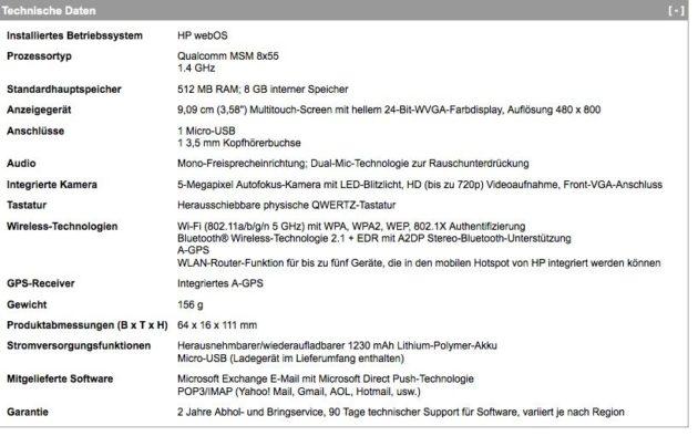 Especificaciones HP Pre 3