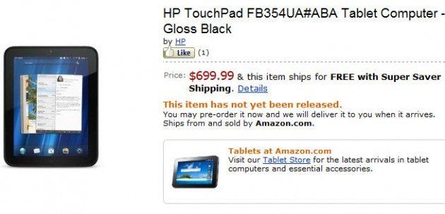 Amazon lista para reservar el HP TouchPad 4G por 700 dólares