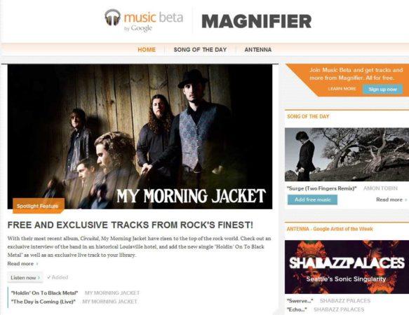 Magnifier, el blog de Google para promocionar Google Music Beta