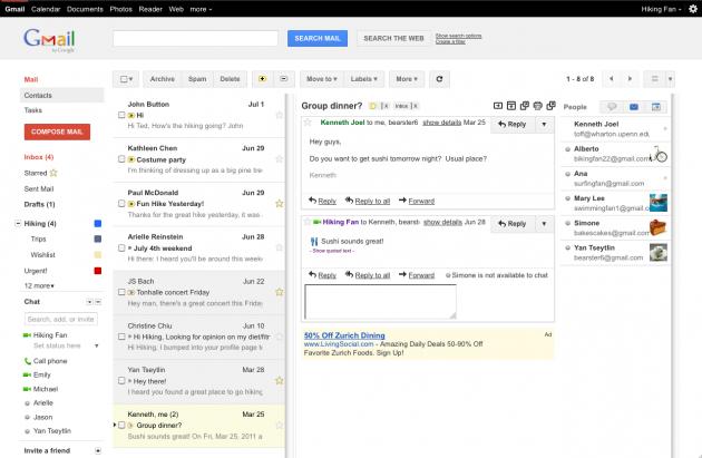Gmail ofrece un panel de previsualización