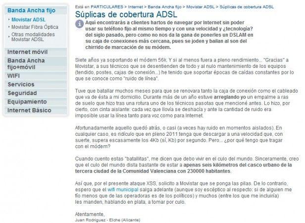 Cliente descontento protesta en la web de Movistar mediante ataque XSS 29