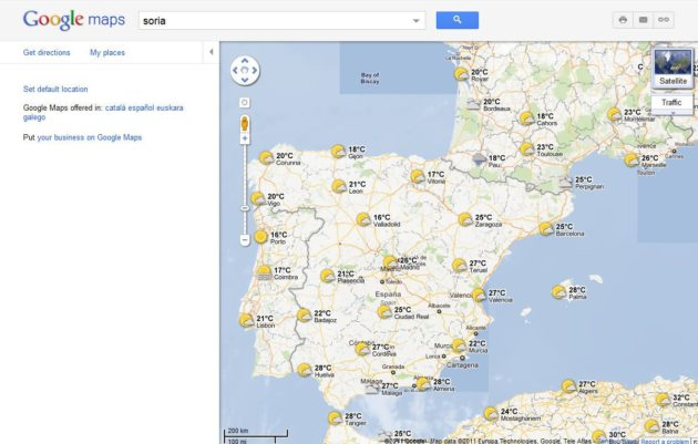 El tiempo en Google Maps