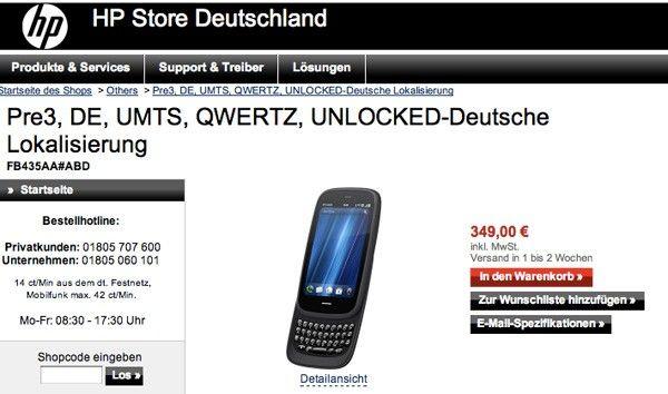 HP Pre 3 ya puede reservarse en Alemania, 349€