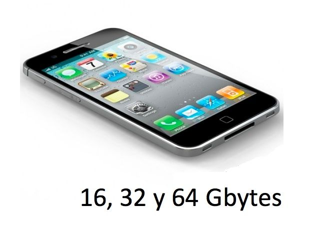 iPhone 5 / 4S estará disponible en capacidades de 16, 32 y 64 Gbytes