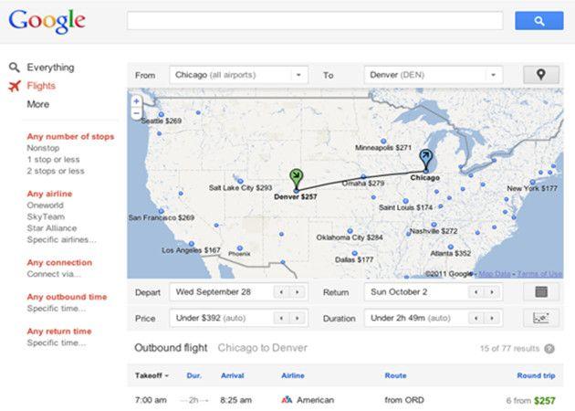 Busca vuelos con Google Flight Search