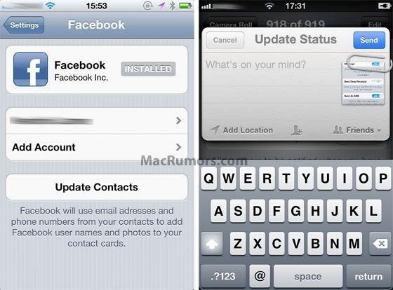 Facebook también llegará integrado en iOS 5