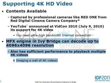 La gráfica Intel de Ivy Bridge podrá mostrar múltiples vídeos 4K