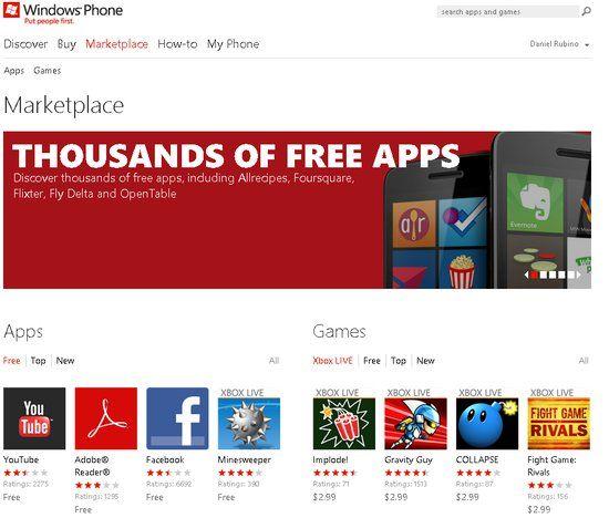 Windows Phone MarketPlace llega en versión web