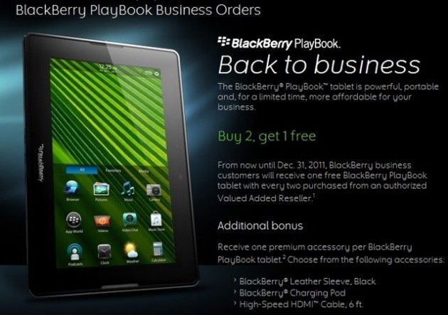 RIM de rebajas en tablets: 3×2 en BlackBerry PlayBook