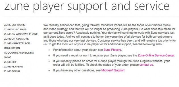 Microsoft dejará de fabricar y vender Zune HD 34