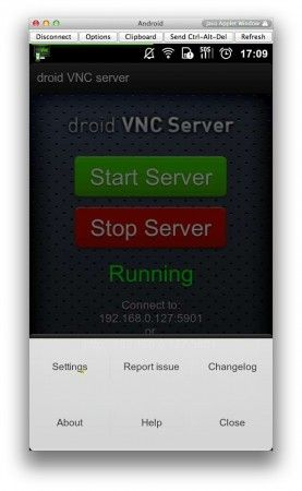 menu droid VNC Server