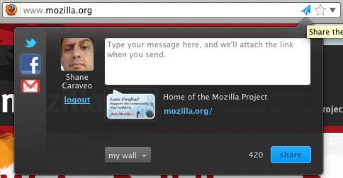 Firefox Share: comparte contenidos en Twitter, Facebook y Gmail desde el navegador