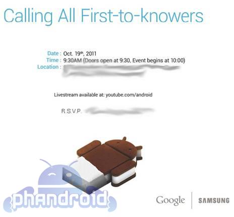 samsung nexus prime ics announcement Ice Cream Sandwich y Nexus Prime verán la luz el 19 de octubre