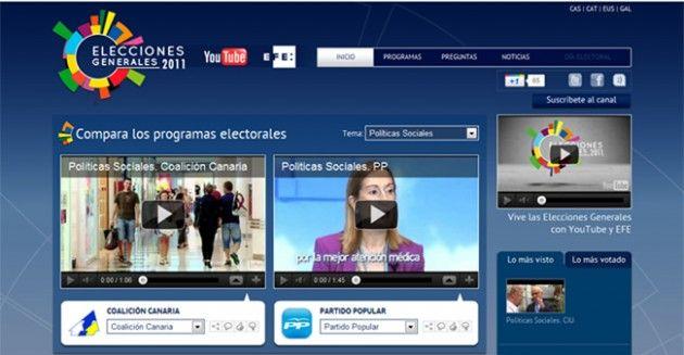 Canal de vídeos para las elecciones 20-N en YouTube