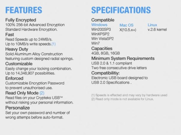 cryptek usb especificaciones