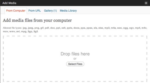 Ya puedes subir archivos a Wordpress arrastrándolos a su ventana 29