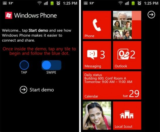 Demo Windows Phone para smartphones Android e iOS vía web