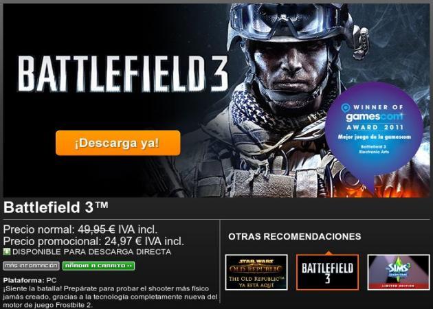 Juegos a mitad de precio en Origin: Battlefield 3, FIFA 12, Sims 3, Dragon Age 2…