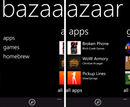 Bazaar para Windows Phone, equivalente a Cydia en iPhone