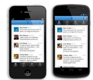 Interfaces iOS y Android de Twitter