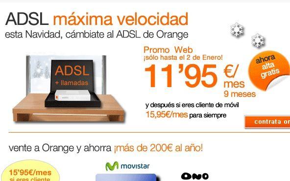 Orange lanza su ADSL 20 megas a 11,95€/mes