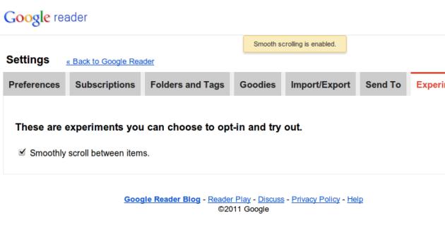 Google Reader recibe la característica Smooth Scrolling 37