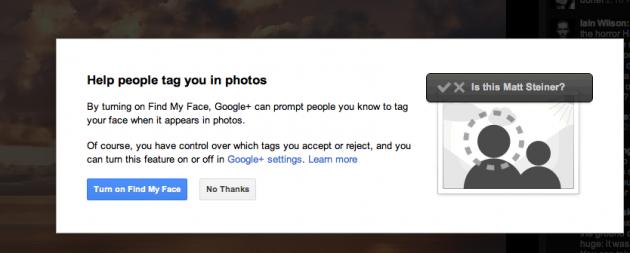 reconocimiento facial google+