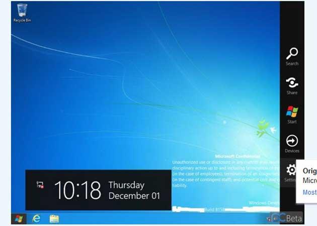 La 'Charm Bar' ya luce en Windows 8