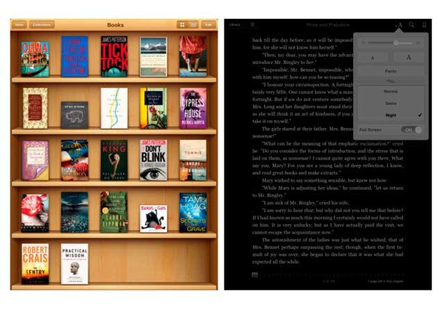 Apple actualiza iBooks con opciones de vista nocturna y pantalla completa