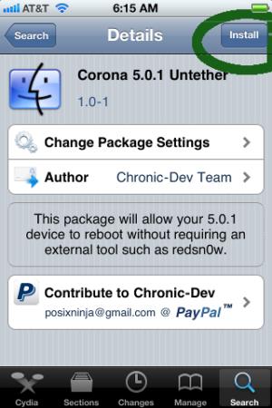 Jailbreak untethered iOS 5.0.1 para quien ya lo tenía tethered: Corona 30