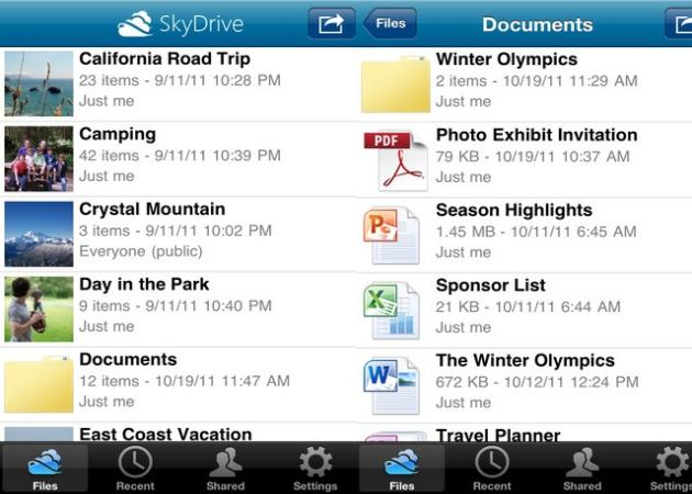 SkyDrive llega a iPhone