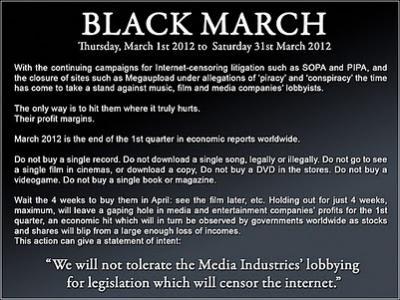 Anonymous anuncia un aumento de ataques -Black March- por el caso de Megaupload