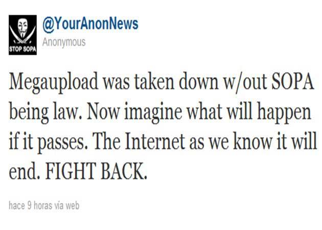 Operación Represalia de Anonymous por el cierre de Megaupload