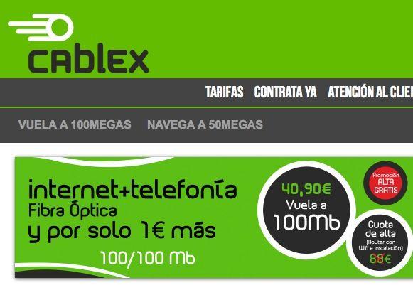 Cablex, 100 megas simétricos -subida y bajada- disponibles en Extremadura
